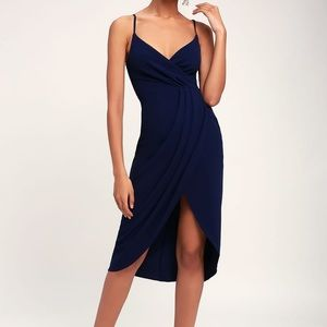 Lulu's Navy Blue Surplice Midi Length Dress (M)